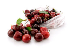 Red cherries on a white stock photography
