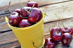 Red Cherries in a yellow bucket. Gorgeous red cherries in a little yellow bucket Stock Photo