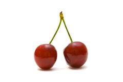 Red cherry. Fresh red cherry isolated on white stock photography