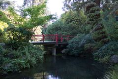 Red Cherry Bridge in a Japanese Garden stock photography