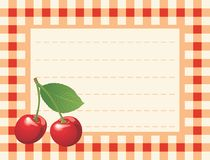 Red cherry on chequered background. Vector card with cherries on the chequered table-cloth background stock illustration