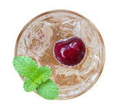 Red cherry cocktail with mint top view isolated on white backgro Stock Photo