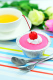 Red cherry cup cake Stock Photography