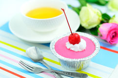 Red cherry cup cake Stock Image