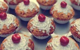 Red Cherry cupcakes, muffins, vintage look Stock Images