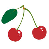Red cherry fruit illustration Royalty Free Stock Images