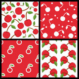 Red Cherry Fruit Seamless Patterns Set Stock Photo