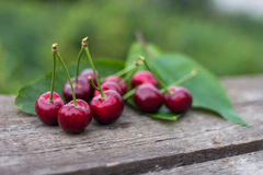 Red cherry fruits on wooden table background Stock Images