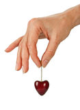 Red cherry heart Stock Photo
