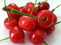 Red cherry isolated in white Stock Photo
