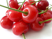 Red cherry isolated in white Royalty Free Stock Photography
