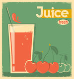 Red cherry juice on card background.Vector vintage illustration Royalty Free Stock Photo