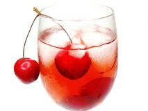 Red cherry juice with ice Royalty Free Stock Image