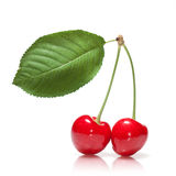 Red cherry with leaf isolated on white Stock Photo