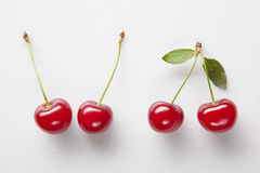Red cherry with leaves Stock Images