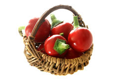 red cherry paprika in a basket Royalty Free Stock Photography