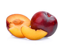 Red cherry plum with slice isolated on white. Background Royalty Free Stock Images