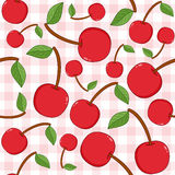Red Cherry Seamless Pattern on Tablecloth. A seamless pattern with red cherries on a checkered picnic tablecloth background. Useful also as design element for Stock Image