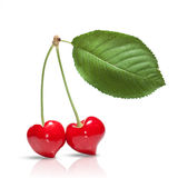 Red cherry in shape of heart Royalty Free Stock Photo