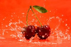 Red Cherry Splash Stock Image