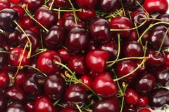 Red cherry texture. red cherry background. Top view Stock Photo