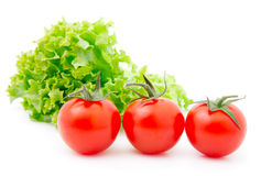Red cherry tomato and salad lettuce Royalty Free Stock Photography