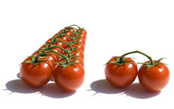 Red cherry tomatoes. On a white Stock Images
