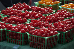 Red cherry tomatoes in crates at Farmers Market. Stock Images