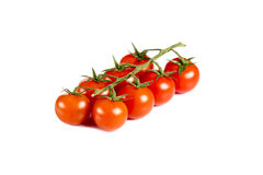 Red cherry tomatoes isolated on white background Royalty Free Stock Photos