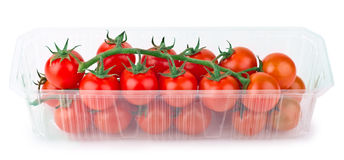 Red Cherry Tomatoes in plastic packaging Stock Photo