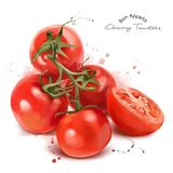Red cherry tomatoes and spray. Watercolor painting Stock Photo