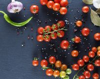 Red cherry tomatoes, top view Royalty Free Stock Photography