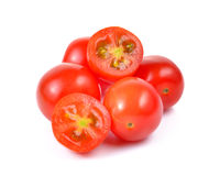 Red cherry tomatoes  on white background. Stock Photos