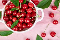 Red cherry in white bowl. On pink background. Summer or spring concept. Harvest Stock Images