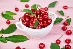 Red cherry in white bowl. On pink background. Summer or spring concept. Harvest. 