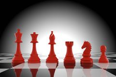 Red chess figures on board in 3d rendering. Red chess figures model on board in 3d rendering Royalty Free Stock Photos
