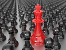 Red chess king with black pawns. 3D computer illustration with global illumination (pathtracing Royalty Free Stock Photos