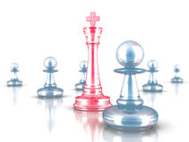 Red Chess King Leader With Other Pawns. Leadership Concept. 3d render illustration Vector Illustration
