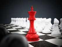 Red chess king standing between white and black pawns. 3D illustration Stock Illustration
