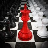 Red chess king standing between white and black pawns. 3D illustration Royalty Free Illustration
