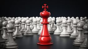 Red chess king standing among white pawns. 3D illustration Stock Images