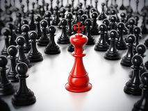 Red chess king standing among white pawns. 3D illustration Stock Photography