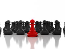Red chess pawn leadership. Red chess pawn. Business leadership concept Royalty Free Stock Image