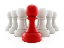 Red chess pawn standing ahead of white pawns. 3D illustration Stock Photography