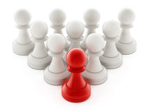 Red chess pawn standing ahead of white pawns. 3D illustration Stock Photo