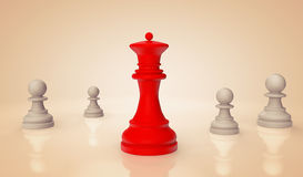 Red chess Queen with pawns Royalty Free Stock Images