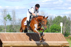 Red chestnut horse jumping. Event:INTERNATIONAL EVENTING COMPETITION CCI 3*/2 w-out SC, CIC 3*/1 Royalty Free Stock Images