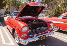 Red 1955 Chevrolet Bel Air. Laguna Beach, CA, USA - October 2, 2016: Red 1955 Chevrolet Bel Air 2 Door Hardtop owned by Dennis Katovsich and displayed at the Stock Photos