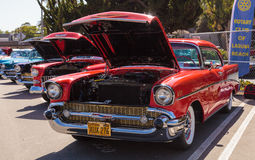Red 1957 Chevrolet Bel Air. Laguna Beach, CA, USA - October 2, 2016: Red 1957 Chevrolet Bel Air 2 Door Hardtop owned by Len Yerkes and displayed at the Rotary Stock Image