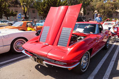 Red 1963 Chevrolet Corvette. Laguna Beach, CA, USA - October 2, 2016: Red 1963 Chevrolet Corvette owned by Tim and Gale Osborn and displayed at the Rotary Club Stock Photos